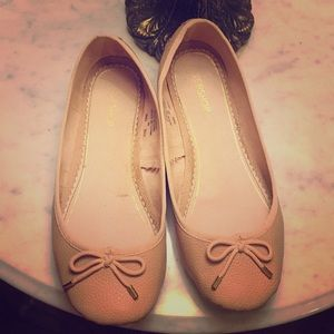 Nude faux leather Topshop flats
